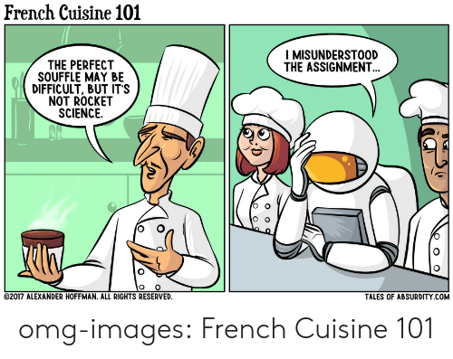 Omg, Tumblr, and Blog: French Cuisine 101  I MISUNDERSTOOD  THE ASSIGNMENT  THE PERFECT  SOUFFLE MAY BE  DIFFICULT, BUT IT'S  NOT ROCKET  SCIENCE.  2017 ALEXANDER HOFFMAN. ALL RIGHTS RESERVED  TALES OF ABSURDITY COM omg-images:  French Cuisine 101