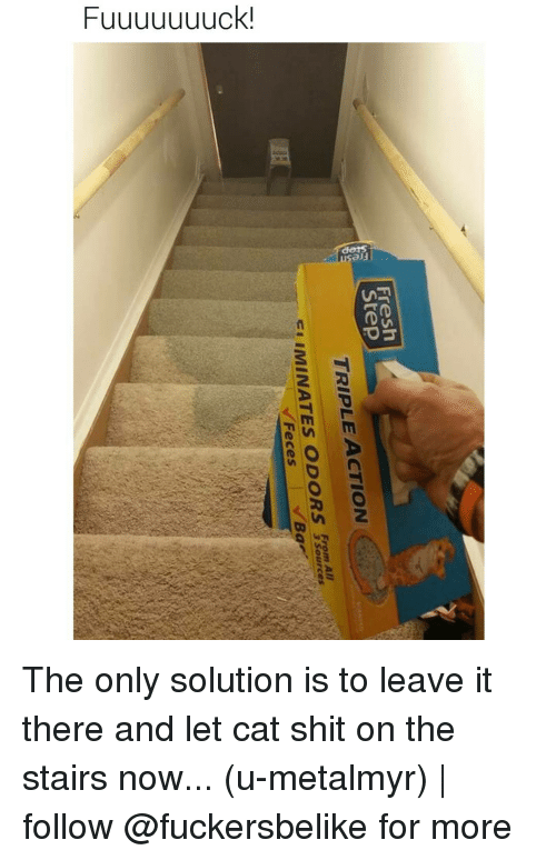 AAU: Fresh  Step  ACTION  TRIPLE From AAU  ELIMINATES ODORS  Feces  3 sources The only solution is to leave it there and let cat shit on the stairs now... (u-metalmyr) | follow @fuckersbelike for more