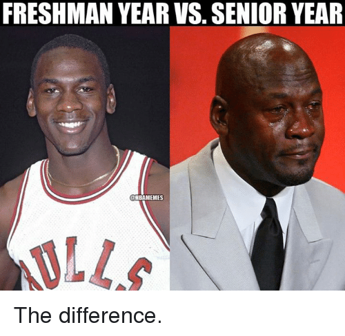 Freshman Year Vs Senior Year: FRESHMAN YEAR VS. SENIOR YEAR  NBAMEMES  ALLA) The difference.
