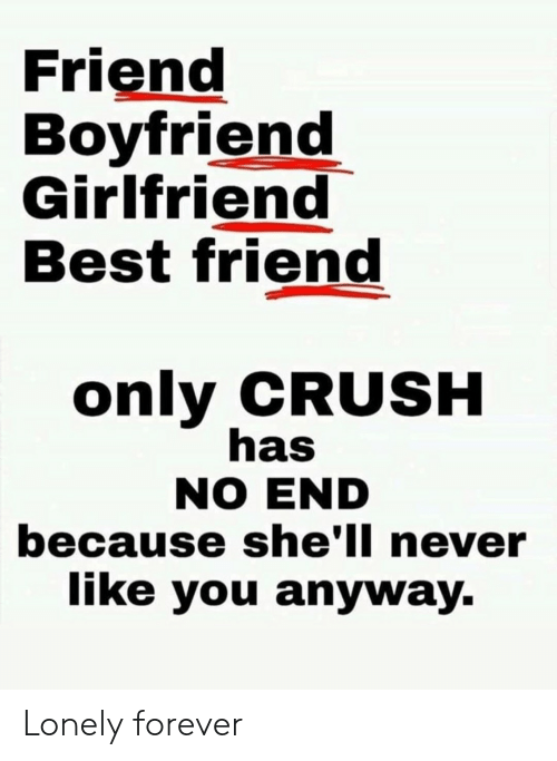 No End: Friend  Boyfriend  Girlfriend  Best friend  only CRUSH  has  NO END  because she'll never  like you anyway. Lonely forever