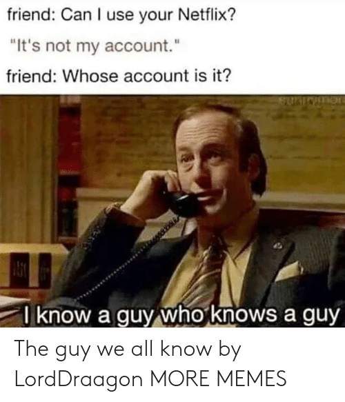 "Dank, Memes, and Netflix: friend: Can I use your Netflix?  ""It's not my account.""  friend: Whose account is it?  know a guy who knows a guy The guy we all know by LordDraagon MORE MEMES"