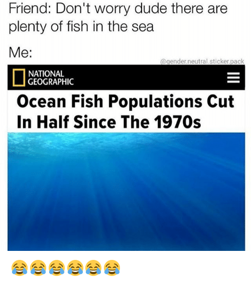 cut in half: Friend: Don't worry dude there are  plenty of fish in the sea  Me:  @gender.neutral.sticker.pack  NATIONAL  GEOGRAPHIC  Ocean Fish Populations Cut  In Half Since The 1970s 😂😂😂😂😂😂
