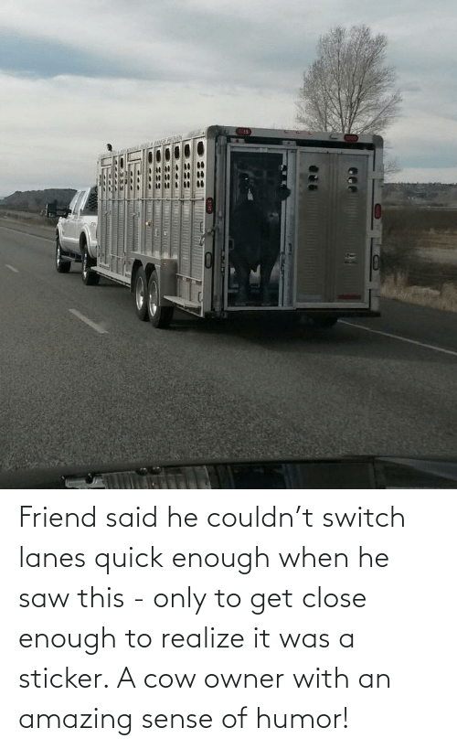 Saw: Friend said he couldn't switch lanes quick enough when he saw this - only to get close enough to realize it was a sticker. A cow owner with an amazing sense of humor!