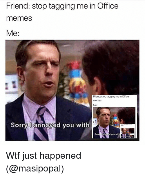 wtf just happened: Friend: stop tagging me in Office  memes  Me:  Friend: stop tagging me in Office  memes  Me  Sorry U annoyed you with  Sorry Uannaved you with Wtf just happened (@masipopal)