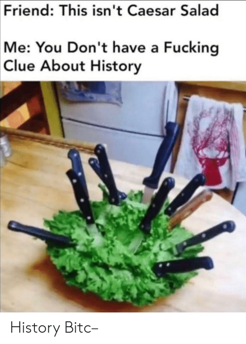 clue: Friend: This isn't Caesar Salad  Me: You Don't have a Fucking  Clue About History History Bitc–