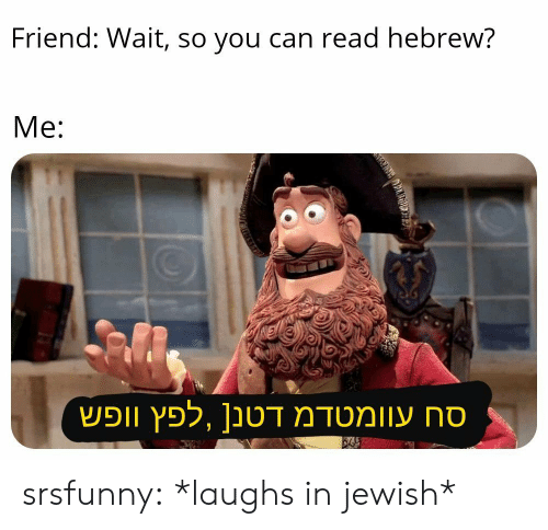 Tumblr, Blog, and Jewish: Friend: Wait, so you can read hebrew?  Me: srsfunny:  *laughs in jewish*