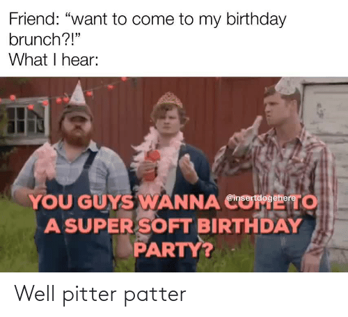"come: Friend: ""want to come to my birthday  brunch?!""  What I hear:  YOU GUYS WANNA CO  A SUPER SOFT BIRTHDAY  PARTY?  то  @insertdogehere Well pitter patter"