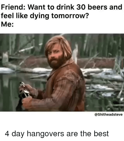 Best, Tomorrow, and Dank Memes: Friend: Want to drink 30 beers and  feel like dying tomorrow?  Me:  @Shitheadsteve 4 day hangovers are the best