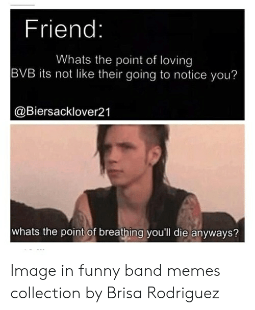 Funny Band Memes: Friend:  Whats the point of loving  BVB its not like their going to notice you?  @Biersacklover21  whats the point of breathing you'll die anyways? Image in funny band memes collection by Brisa Rodriguez