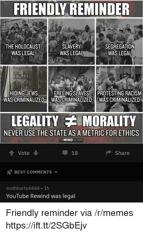 ethics: FRIENDLY REMINDER  THE HOLOCAUST  WAS LEGAL  SLAVERY  WAS LEGAL  SEGREGATION  WAS LEGAL  HIDING JEWSFREEING SLAVES PROTESTING RACISM  WAS CRIMINALIZED-WAS CRIMINALIZED WAS CRIMINALIZED  LEGALITY MORALITY  NEVER USE THE STATE AS A METRIC FOR ETHICS  THEMINDUNLEASHED  Vote  Share  BEST COMMENTS ▼  truthhurts4444 1h  YouTube Rewind was legal Friendly reminder via /r/memes https://ift.tt/2SGbEjv