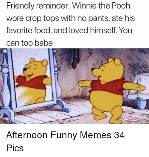 Food, Funny, and Memes: Friendly reminder: Winnie the Pooh  wore crop tops with no pants, ate his  favorite food, and loved himself. You  can too babe Afternoon Funny Memes 34 Pics