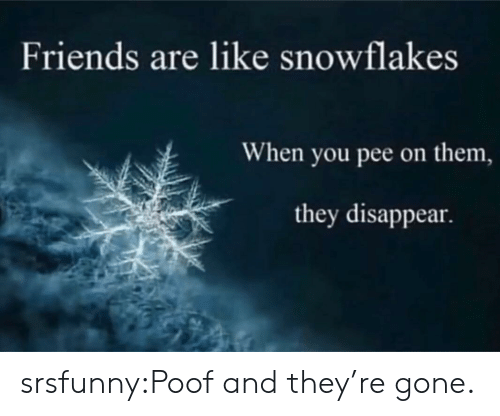poof: Friends are like snowflakes  When you pee on them,  they disappear. srsfunny:Poof and they're gone.