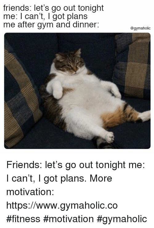 Friends, Gym, and Fitness: friends: let's go out tonight  me: I can't, I got plans  me after gym and dinner:  @gymaholic Friends: let's go out tonight  me: I can't, I got plans.  More motivation: https://www.gymaholic.co  #fitness #motivation #gymaholic