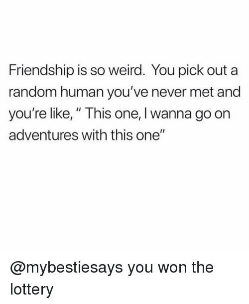 "Lottery, Weird, and Girl Memes: Friendship is so weird. You pick out a  random human you've never met and  you're like,"" This one, I wanna go on  adventures with this one"" @mybestiesays you won the lottery"