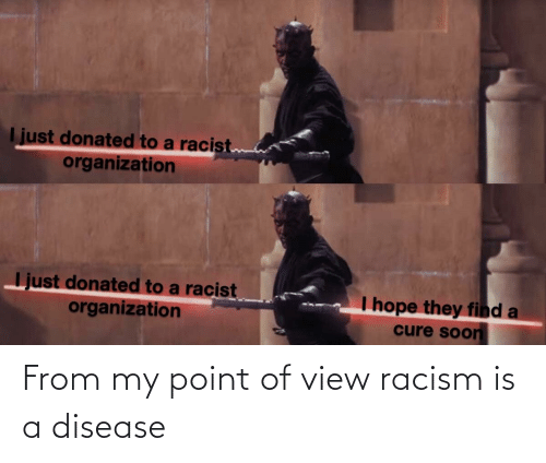 disease: From my point of view racism is a disease