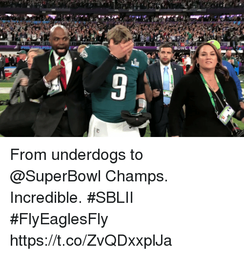 Memes, Superbowl, and 🤖: From underdogs to @SuperBowl Champs.  Incredible. #SBLII #FlyEaglesFly https://t.co/ZvQDxxplJa