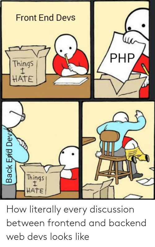 php: Front End Devs  PHP,  Things  HATE  Things  HATE  Back End Devs How literally every discussion between frontend and backend web devs looks like