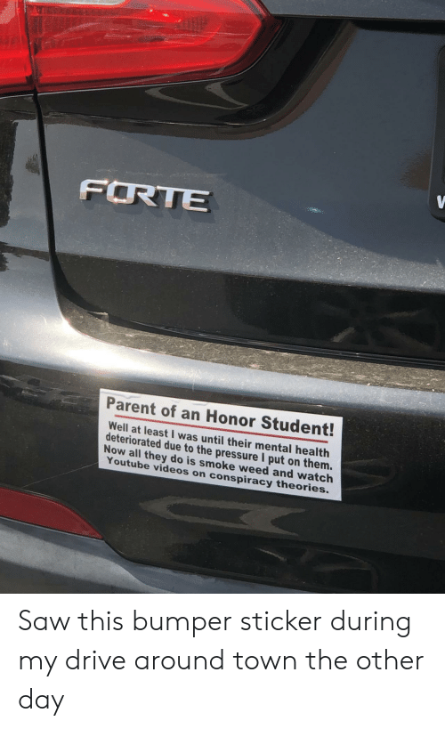 Pressure, Saw, and Videos: FRTE  Parent of an Honor Student!  ell at least I was until their mental health  deteriorated due to the pressure I put on them.  Now all  they do is smoke weed and watch  Youtube videos o  n conspiracy theories. Saw this bumper sticker during my drive around town the other day