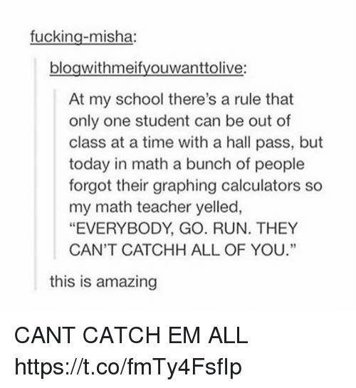 "Everybody Go: fucking-misha:  bloawithmeifvouwanttolive:  At my school there's a rule that  only one student can be out of  class at a time with a hall pass, but  today in math a bunch of people  forgot their graphing calculators so  my math teacher yelled,  ""EVERYBODY, GO. RUN. THEY  CAN'T CATCHH ALL OF YOU.""  60  this is amazing CANT CATCH EM ALL https://t.co/fmTy4FsfIp"