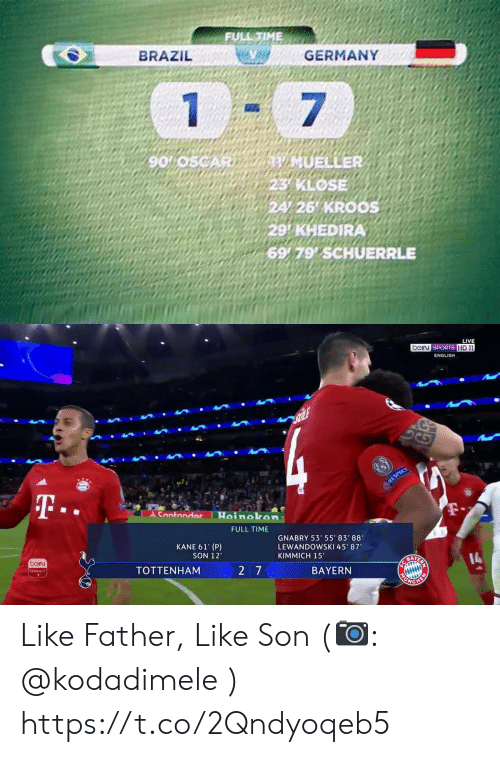 "tottenham: FULL TIME  GERMANY  BRAZIL  1  7  V MUELLER  23 KLOSE  24/26 KROOS  29 KHEDIRA  6979 SCHUERRLE  90 05CAR   LIVE  beiN SPORTS HD 11  ENGLISH  ALE  14  RESPECT  T..  Santandor  Hoinokon  FULL TIME  GNABRY 53' 55' 83' 88  LEWANDOWSKI 45' 87  KANE 61' (P)  SON 12  KIMMICH 15""  beiN  14  CONVECT  TOTTENHAM  27  BAYERN  MONGH  RN Like Father, Like Son (📷: @kodadimele ) https://t.co/2Qndyoqeb5"