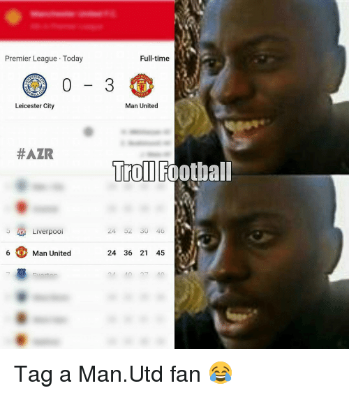 Leicester City: Full-time  Premier League Today  CHES  Man United  Leicester City  #AZR  Troll Football  24 40  Liverpool  6 Man United  24 36 21 4 Tag a Man.Utd fan 😂