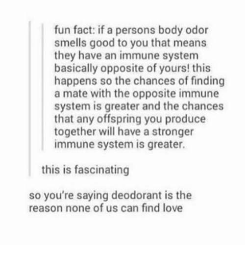 smells good: fun fact: if a persons body odor  smells good to you that means  they have an immune system  basically opposite of yours! this  happens so the chances of finding  a mate with the opposite immune  system is greater and the chances  that any offspring you produce  together will have a stronger  immune system is greater.  this is fascinating  so you're saying deodorant is the  reason none of us can find love