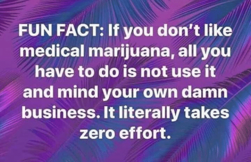 Memes, Zero, and Business: FUN FACT: If you don't like  medical marijuana, all you  have to do is not use it  and mind your own damn  business. It literally takes  zero effort.