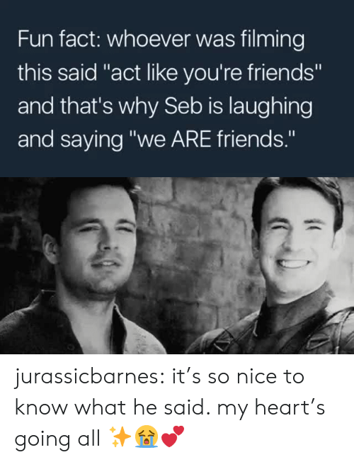 """seb: Fun fact: whoever was filming  this said """"act like you're friends""""  and that's why Seb is laughing  and saying """"we ARE friends."""" jurassicbarnes: it's so nice to know what he said. my heart's going all ✨😭💕"""