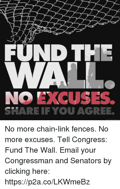 Email, Link, and Conservative: FUND THE  NO EXCUSES.  SHARE IF YOU AGREE. No more chain-link fences. No more excuses.  Tell Congress: Fund The Wall.  Email your Congressman and Senators by clicking here: https://p2a.co/LKWmeBz