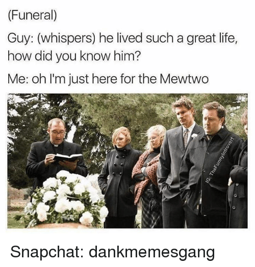 Im Just Here For The: (Funeral)  Guy: (whispers) he lived such a great life,  how did you know him?  Me: oh I'm just here for the Mewtwo Snapchat: dankmemesgang