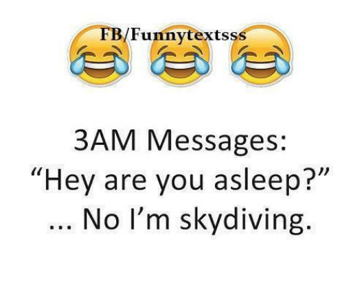 """skydive: /Funny texts  ss  3AM Messages:  """"Hey are you asleep?""""  No I'm skydiving."""