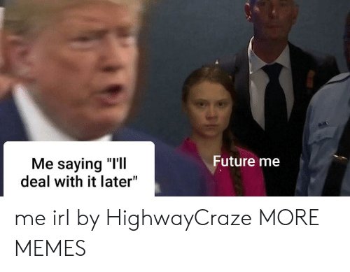 "Dank, Future, and Memes: Future me  Me saying ""I'll  deal with it later"" me irl by HighwayCraze MORE MEMES"