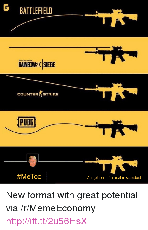 """Http, Battlefield, and Counterstrike: G BATTLEFIELD  RAINBOWSIX SIEGE  COUNTERSTRIKE  PUBG  #MeToo  Allegations of sexual misconduct <p>New format with great potential via /r/MemeEconomy <a href=""""http://ift.tt/2u56HsX"""">http://ift.tt/2u56HsX</a></p>"""