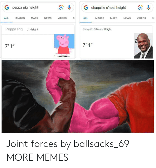 """Shaquille O'Neal: G shaquille o'neal height  G peppa pig height  IMAGES  ALL  IMAGES  МAPS  NEWS  VIDEOS  ALL  NEWS  VIDEOS  MAPS  S  Shaquille O'Neal/Height  Реppа Pig  /Height  7' 1""""  7'1"""" Joint forces by ballsacks_69 MORE MEMES"""