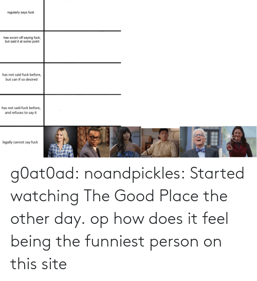 Target, Tumblr, and Blog: g0at0ad:  noandpickles: Started watching The Good Place the other day. op how does it feel being the funniest person on this site