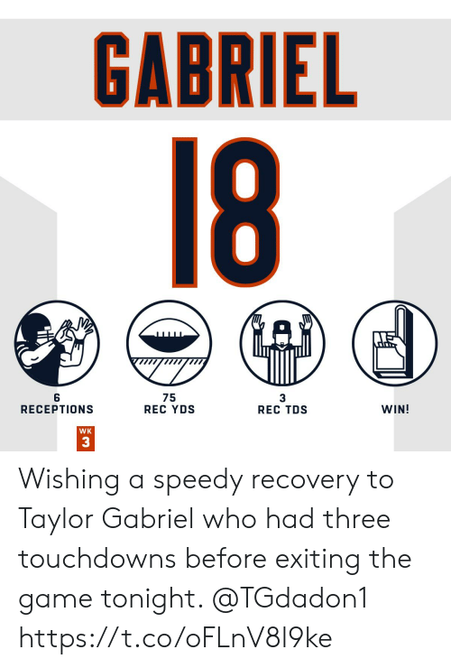 Memes, The Game, and Game: GABRIEL  18  75  REC YDS  WIN!  RECEPTIONS  REC TDS  WK  33 Wishing a speedy recovery to Taylor Gabriel who had three touchdowns before exiting the game tonight. @TGdadon1 https://t.co/oFLnV8l9ke