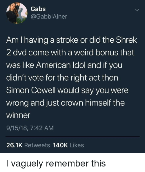 Shrek 2: Gabs  @GabbiAlner  Am I having a stroke or did the Shrek  2 dvd come with a weird bonus that  was like American Idol and if you  didn't vote for the right act thern  Simon Cowell would say you were  wrong and just crown himself the  winner  9/15/18, 7:42 AM  26.1K Retweets 140K Likes I vaguely remember this