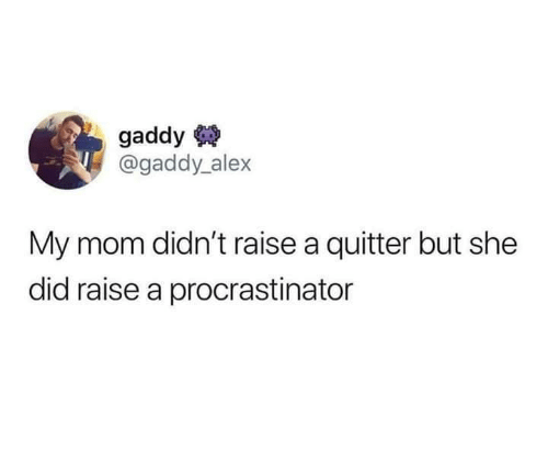 She Did: gaddy  @gaddy alex  My mom didn't raise a quitter but she  did raise a procrastinator