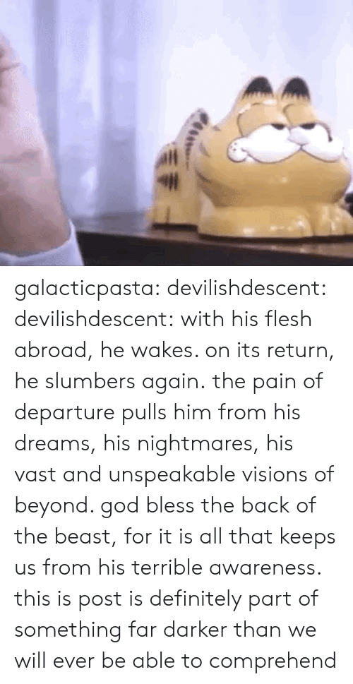 bless: galacticpasta:  devilishdescent:  devilishdescent:  with his flesh abroad, he wakes. on its return, he slumbers again.  the pain of departure pulls him from his dreams, his nightmares, his vast and unspeakable visions of beyond. god bless the back of the beast, for it is all that keeps us from his terrible awareness.  this is post is definitely part of something far darker than we will ever be able to comprehend