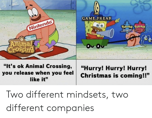 """Animal Crossing: GAME FREAK  Nintendo  Poke May PokeMay  SPOCD SHIELPD  Horizons  Animal  Crossing  O O  """"It's ok Animal Crossing,  you release when you feel  """"Hurry! Hurry! Hurry!  Christmas is coming!!""""  like it"""" Two different mindsets, two different companies"""