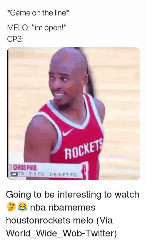 "Basketball, Nba, and Sports: *Game on the line  MELO: ""im open!""  CP3:  ROCKE  HIS PU35-6 3.PT FO  GIFT  TS 5-9 FG 3-63-PT FG Going to be interesting to watch 🤔😂 nba nbamemes houstonrockets melo (Via World_Wide_Wob-Twitter)"