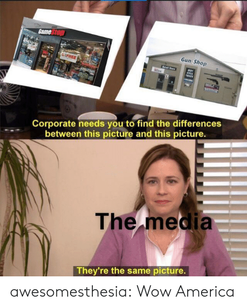 corporate: Game Stop  Gun Shop  FREE  Retail Stare  BELL  TRADE  Corporate needs you to find the differences  between this picture and this picture.  The media  They're the same picture. awesomesthesia:  Wow America