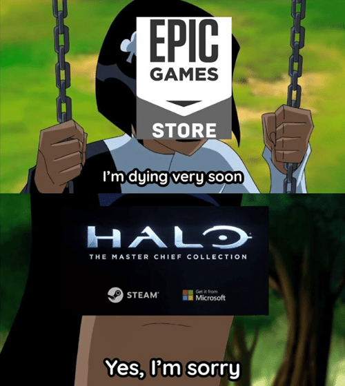 Halo, Microsoft, and Soon...: GAMES  STORE  'mduinaiveru soon  HALO  THE MASTER CHIEF COLLECTION  STEAM  Get it from  il Microsoft  Yes, l'm sorry