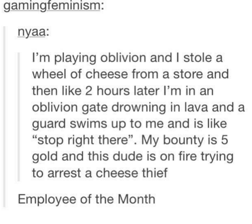 """Feminization: gaming feminism  nyaa:  I'm playing oblivion and l stole a  wheel of cheese from a store and  then like 2 hours later I'm in an  oblivion gate drowning in lava and a  guard swims up to me and is like  """"stop right there"""". My bounty is 5  gold and this dude is on fire trying  to arrest a cheese thief  Employee of the Month"""