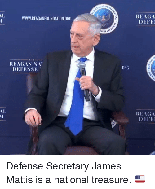 "Mattis: GAN PRA  REAGA  DEFE  AL  WWW.REAGANFOUNDATION.ORG  REAGAN NA""  DEFENSE  ORG  REAGA  DEFE  AL Defense Secretary James Mattis is a national treasure. 🇺🇸"