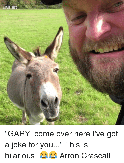 """Come Over, Dank, and Hilarious: """"GARY, come over here I've got a joke for you..."""" This is hilarious! 😂😂  Arron Crascall"""