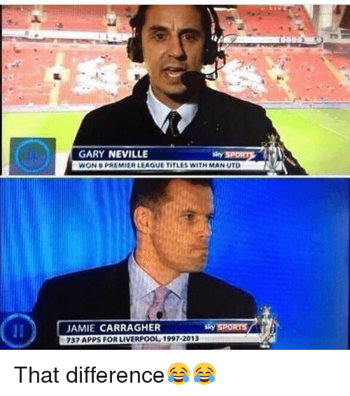 Memes, Sky Sports, and 🤖: GARY NEVILLE  Sky SPO  WON 8PREMIERLEAGUE TITLES WITH MAN UTD  sky SPORTS  JAMIE CARRAGHER  737 APPS FOR LIVERPOOL, 1997-2013 That difference😂😂