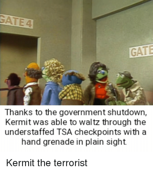 grenade: GATE  Thanks to the government shutdown,  Kermit was able to waltz through the  understaffed TSA checkpoints with a  hand grenade in plain sight Kermit the terrorist