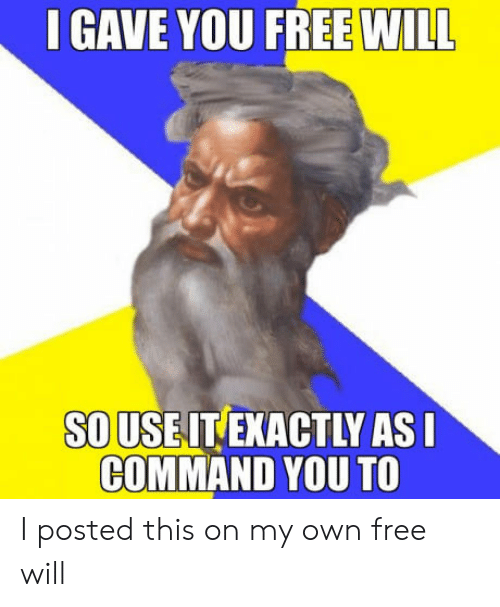 free will: GAVE YOU FREE WILL  SOUSEIT EXACTLY AS  COMMAND YOU TO I posted this on my own free will