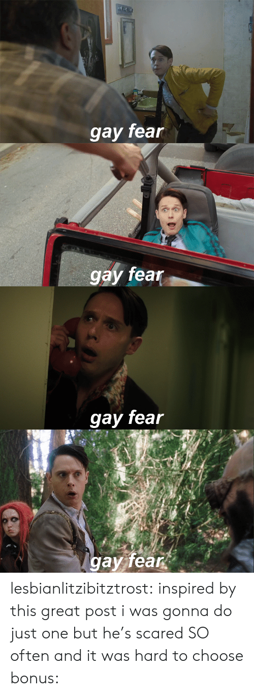 Target, Tumblr, and Blog: gay fean   gay fear   gay fear   gav fear lesbianlitzibitztrost: inspired by this great post i was gonna do just one but he's scared SO often and it was hard to choose bonus: